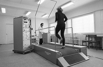A medical treadmill is used in 1980 in the Olympic Village at the Summer Olympics. Source