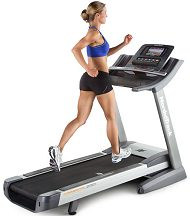 Woman on a running treadmill