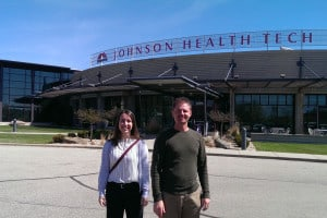 Brad and Rachael in front of Johnson Fitness Headquarters in Cottage Grove, WI.