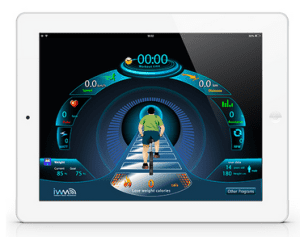The MyLiveLight workout display includes your stats and a moving avatar.