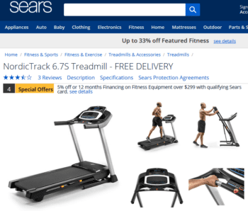 sears nordictrack treadmills