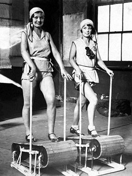 A treadmill in the roaring 1920s. (Image Source)